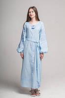 "Сукня вишита ""Ружа-джинс"",  льон, фото 1"