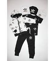 Детский Спортивный Костюм Тройка в стиле Adidas на Молнии с Черной Футболкой  Рост 80-116 см