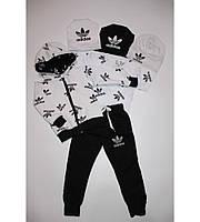 Детский Спортивный Костюм Тройка в стиле Adidas на Молнии с Белой Футболкой Рост 80-116 см