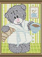 Набор для выкладки алмазной техники Мишка с кофе