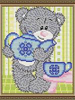 Набор для выкладки алмазной техники Мишка с чайником