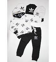 Детский Спортивный Костюм Двойка в стиле Adidas Черно-Белый без Молнии Рост 80-116 см