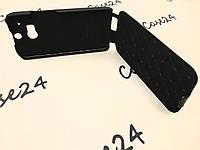 Кожаный чехол флип Melkco для HTC One M8 чёрный