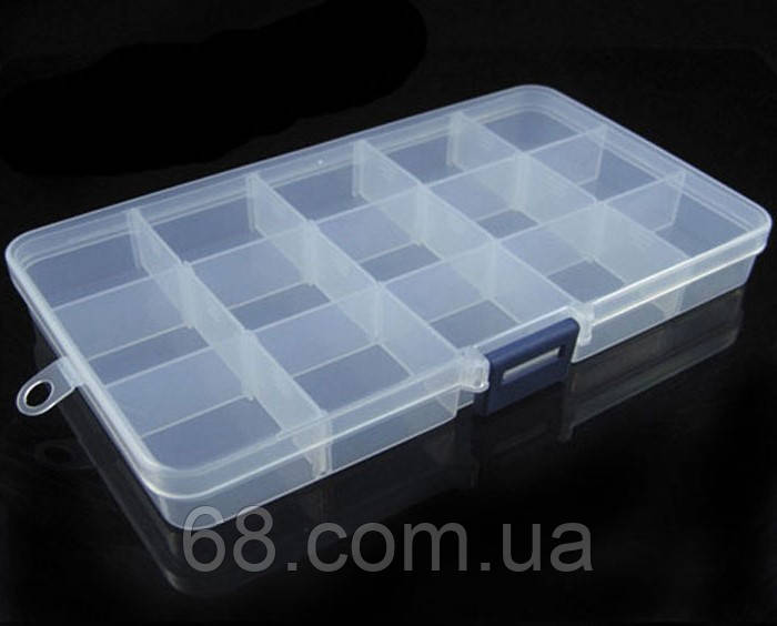 Коробка органайзер пластиковый кассетница для мелочей, бисера, рыбалки 15 ячеек