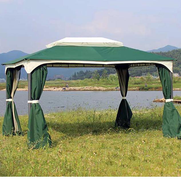 Садовый павильон «DU-120 green» 3х4 м. с москитками и шторами(7095)