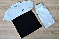 Летний комплект Nike черно-серое поло серые шорты