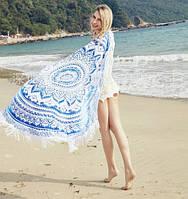 Пляжный коврик Мандала голубая