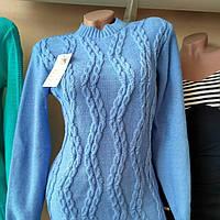Женский свитер под горло вязаный в узоры косичку от Misha Pryanik