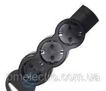 Подовжувач 3X2К+З без кабеля чорний