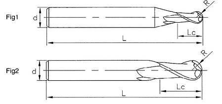 R 1.5*6*3*50-2F Фреза твердосплавная радиусная (45HRC), фото 2