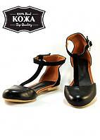 Женские сандалии с закрытым носком замша/кожа (черные) Sollorini №5722-31