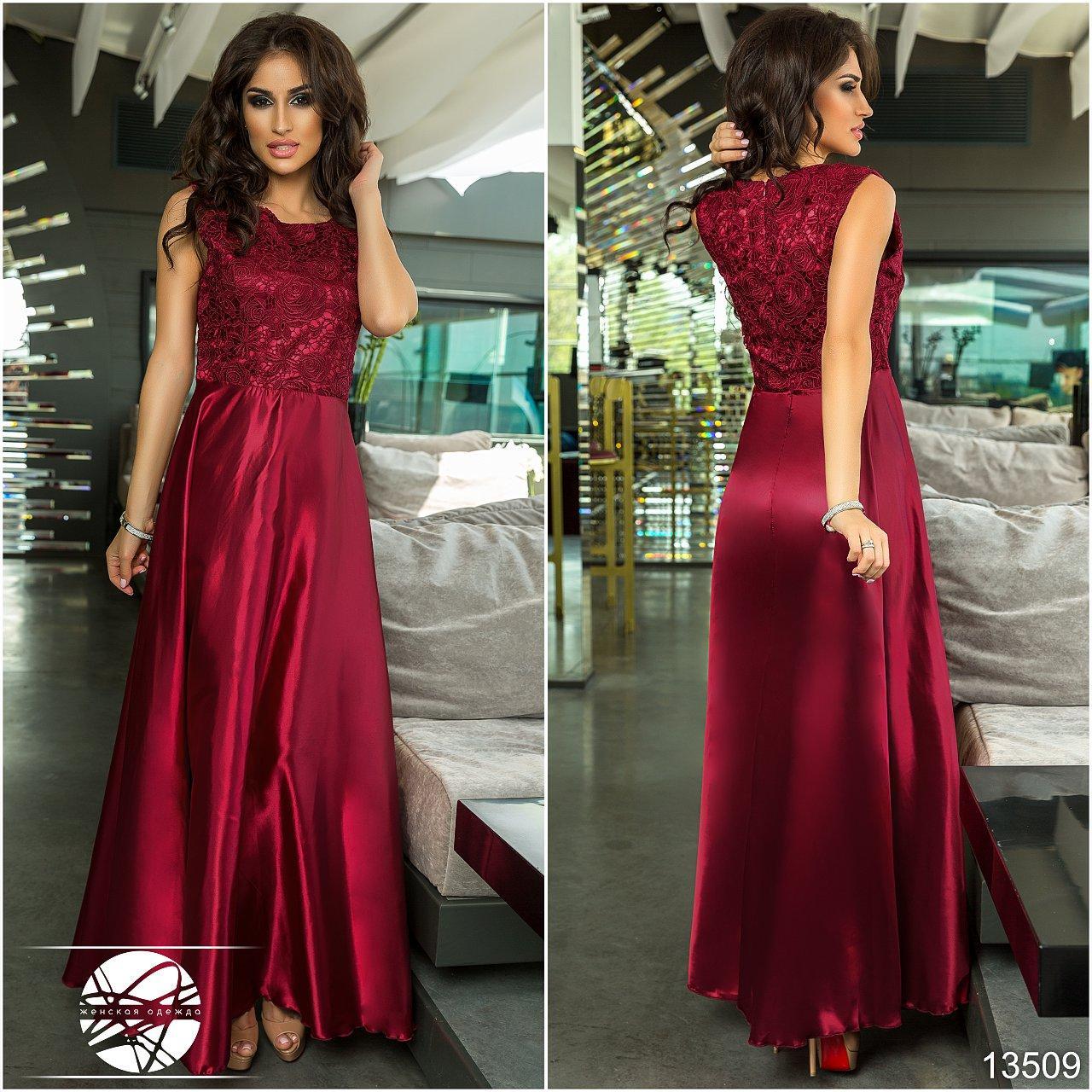 a170596e188 Купить Вечернее атласное платье бордового цвета с вышивкой. Модель ...