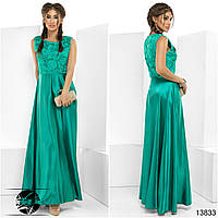 Вечернее атласное платье бирюзового цвета с вышивкой. Модель 13833.