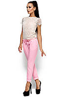 Летние брюки-дудочки из габардина, розовые, размер 42-48
