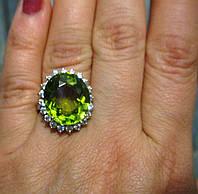 """Большой перстень с султанитом и сапфирами  """"Магнат"""", размер 17.2 от студии LadyStyle.Biz"""