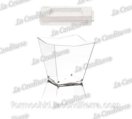 Пластиковый квадратный стакан с крышкой «Diamante» (120 мл)