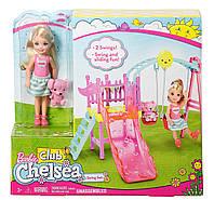Игровой набор Развлечения Челси качели с горкой Barbie Club Chelsea Swing set DWJ46, фото 1