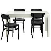 BJURSTA / IDOLF Стол и 4 стула, белый, черный