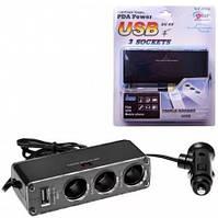 Автомобильный тройник разветвитель USB + 3 входа прикуривателя WF-0096