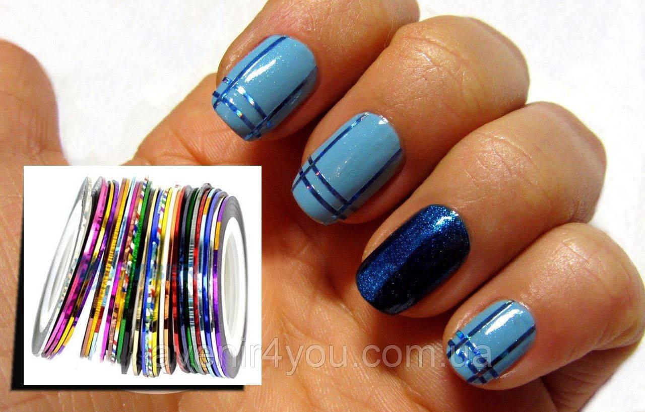 Самоклеющаяся лента (скотч лента) для дизайна ногтей, 1 шт разные цвета