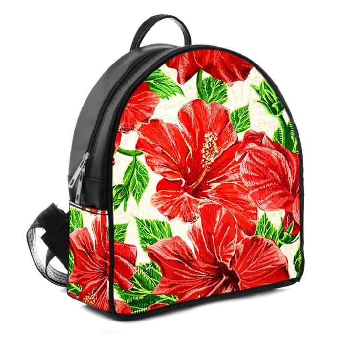 Городской женский черный рюкзак с принтом Красные цветы