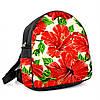 Городской женский черный рюкзак с принтом Красные цветы, фото 2
