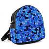 Городской женский черный рюкзак с принтом Синяя геометрия, фото 2