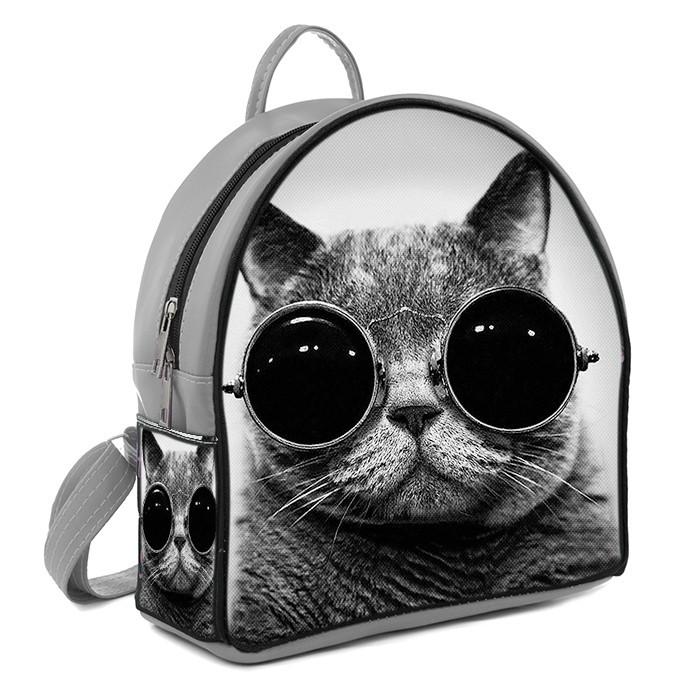 Серый стильный женский городской рюкзак с принтом Кот в очках