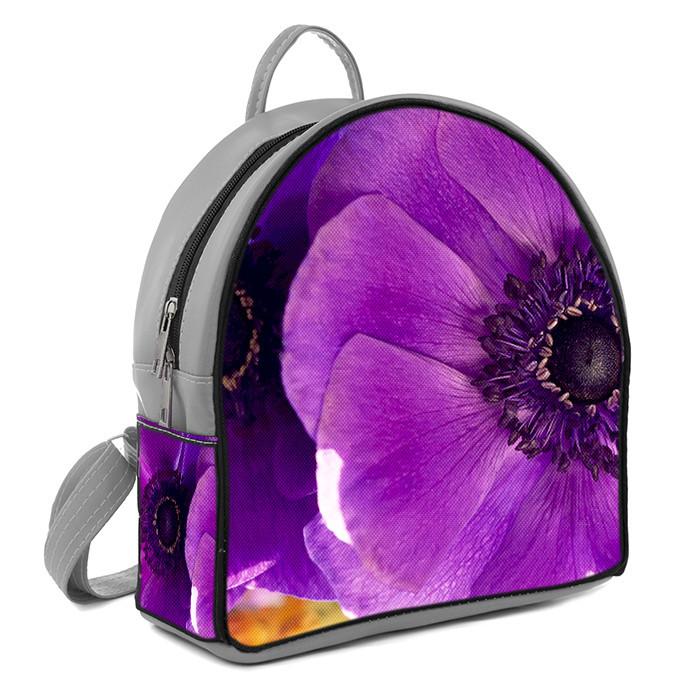 Серый модный городской рюкзак с принтом Фиолетовый цветок