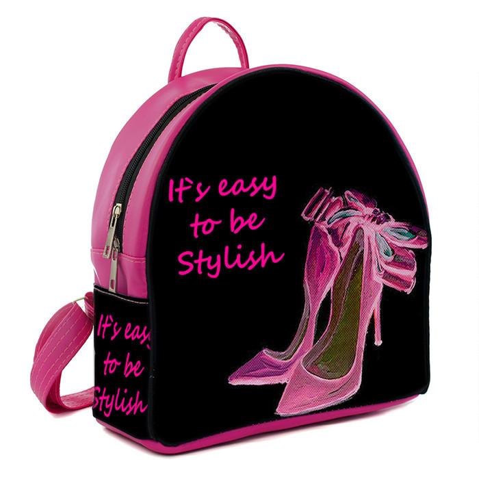 Розовый модный городской рюкзак с принтом Туфли