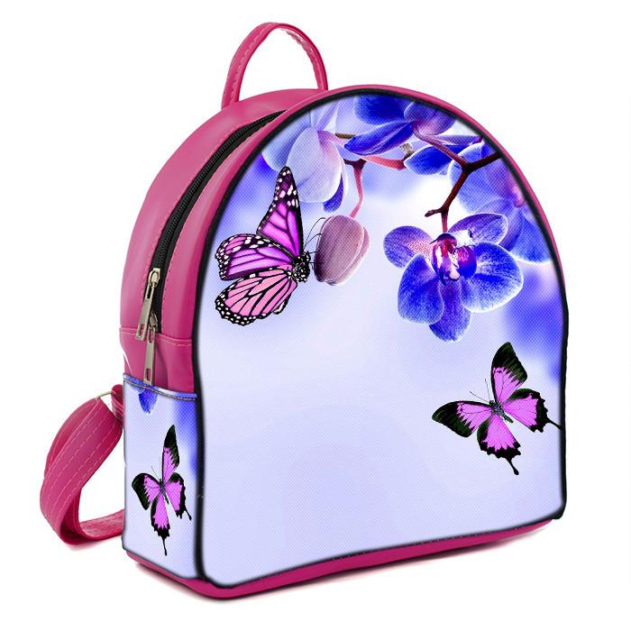 Розовый модный городской рюкзак с принтом Орхидея