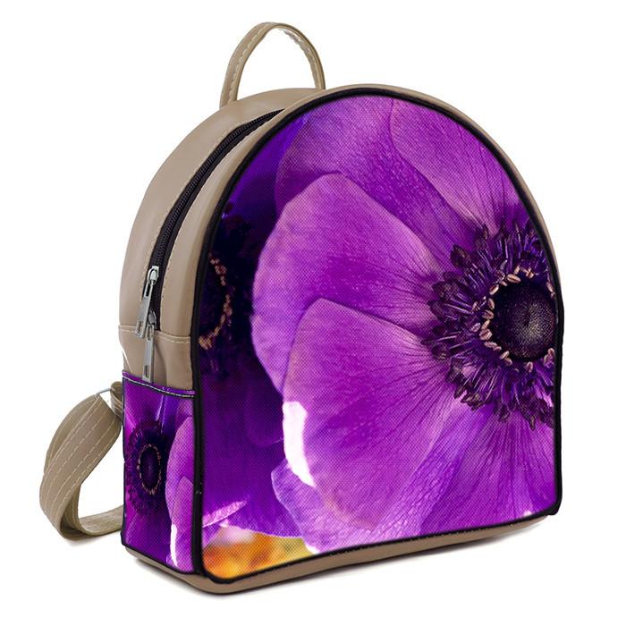 Бежевый городской рюкзак с принтом Цветочек