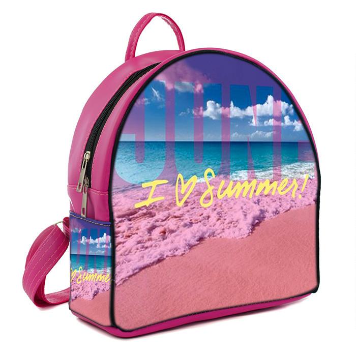 Розовый женский городской рюкзак с принтом Лето