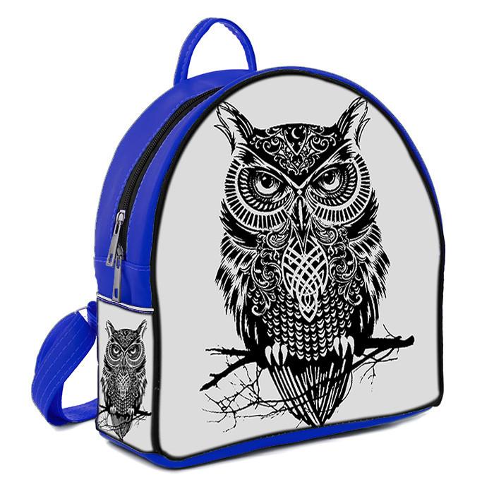 Синий модный городской рюкзак с принтом Сова