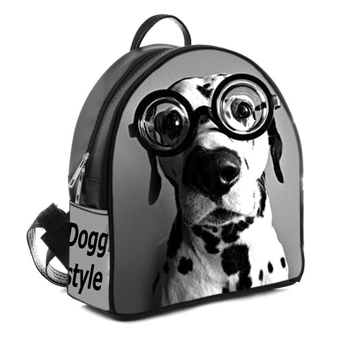 Черный городской рюкзак с принтом Далматинец в очках