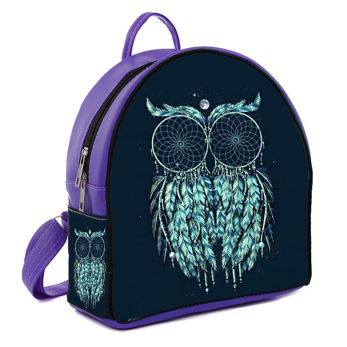 Фиолетовый городской рюкзак с принтом Сова ловец снов