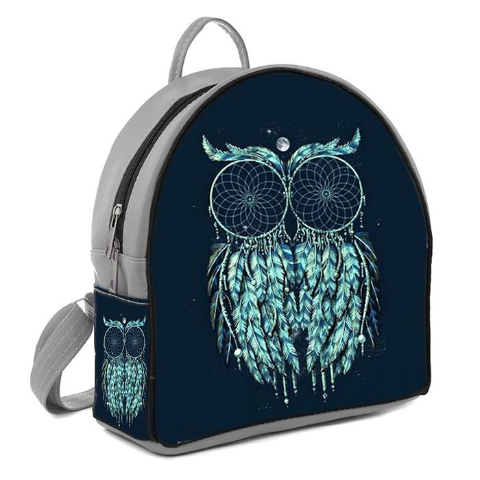 Серый городской рюкзак с рисунком Сова ловец снов