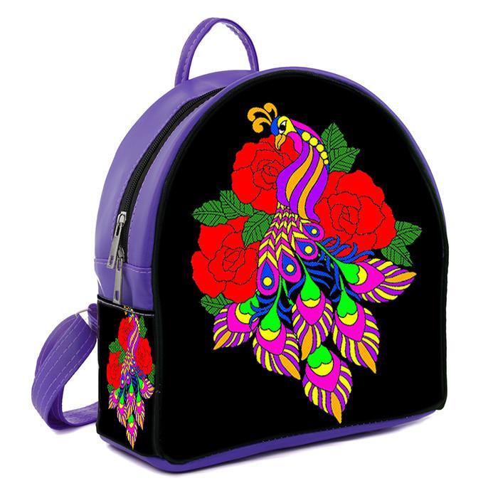 Фиолетовый городской рюкзак с рисунком Фламинго