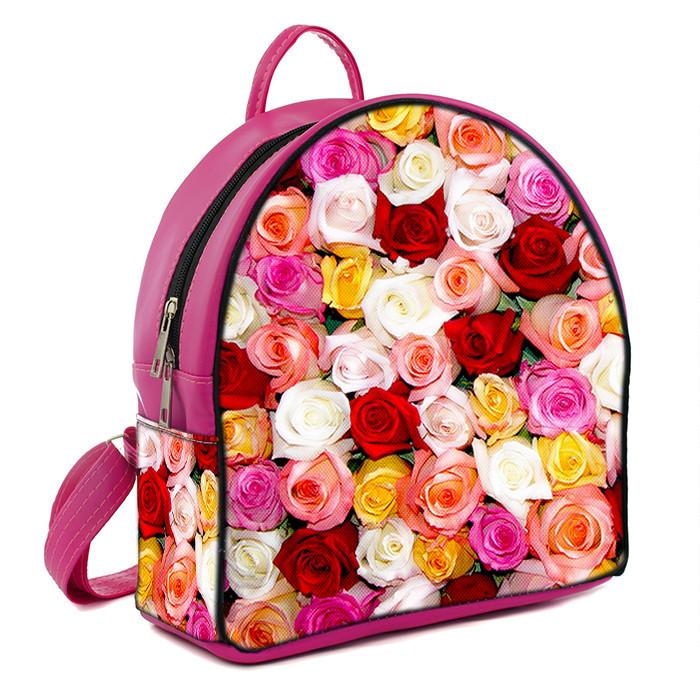 Розовые молодежные городские рюкзаки с принтом Розы