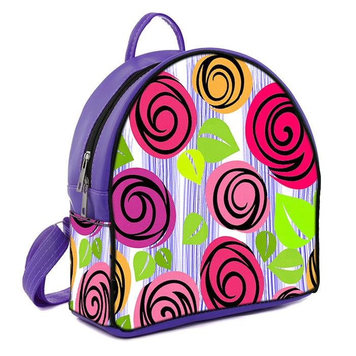Фиолетовый молодежный городской рюкзак с принтом Цветочная фантазия