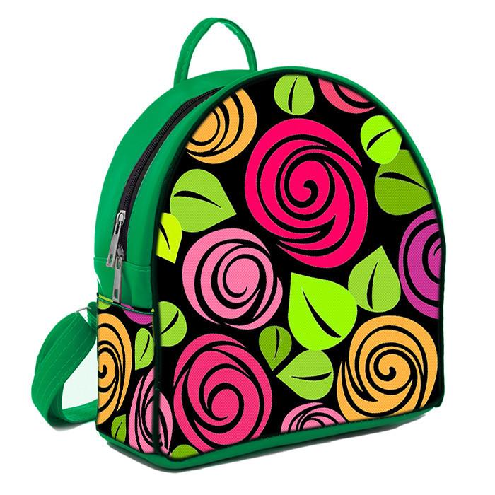 Зеленый стильный городской рюкзак с принтом Цветочная фантазия