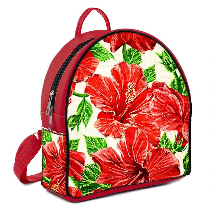 Красный женский городской рюкзак с принтом Мальва