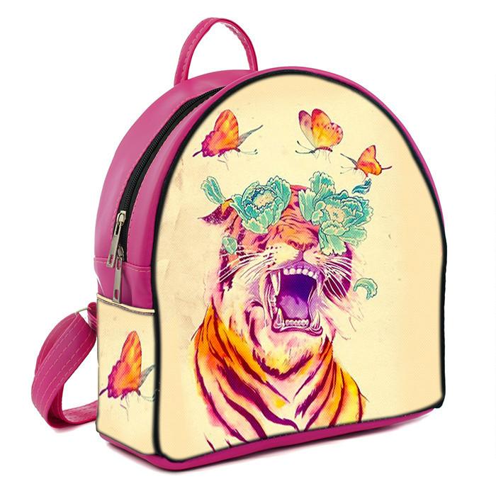 Розовый женский городской рюкзак с принтом Тигр