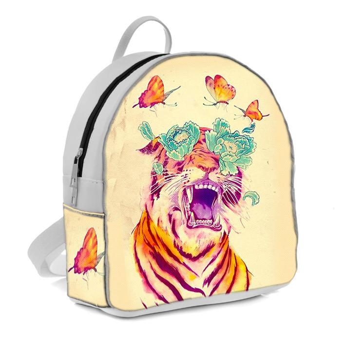 Белый женский городской рюкзак с принтом Тигр