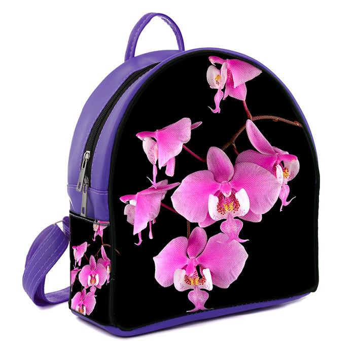 Фиолетовый городской рюкзак с принтом Розовая орхидея
