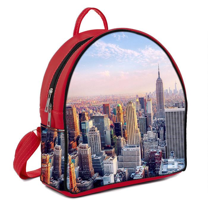 Красный городской рюкзак с принтом Нью йорк