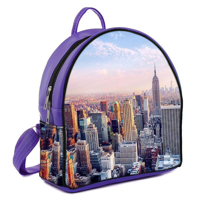 Фиолетовый городской рюкзак с принтом Нью йорк