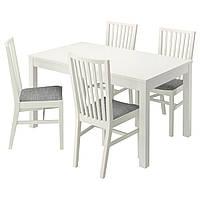 BJURSTA / NORRNÄS Стол и 4 стула, белый, Исунда серый