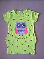 Туника для Девочки Совушка Цвет Салатовый Рост 98-128 см