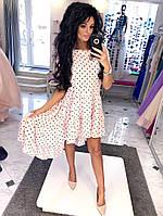Шикарное свободное платье с принтом горох